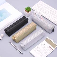 Универсальные простые однотонные Цвет молния прозрачной сетки Карандаш Чехол для художественные кисти сумка для хранения ручек карандаш пух в сумки для карандашей
