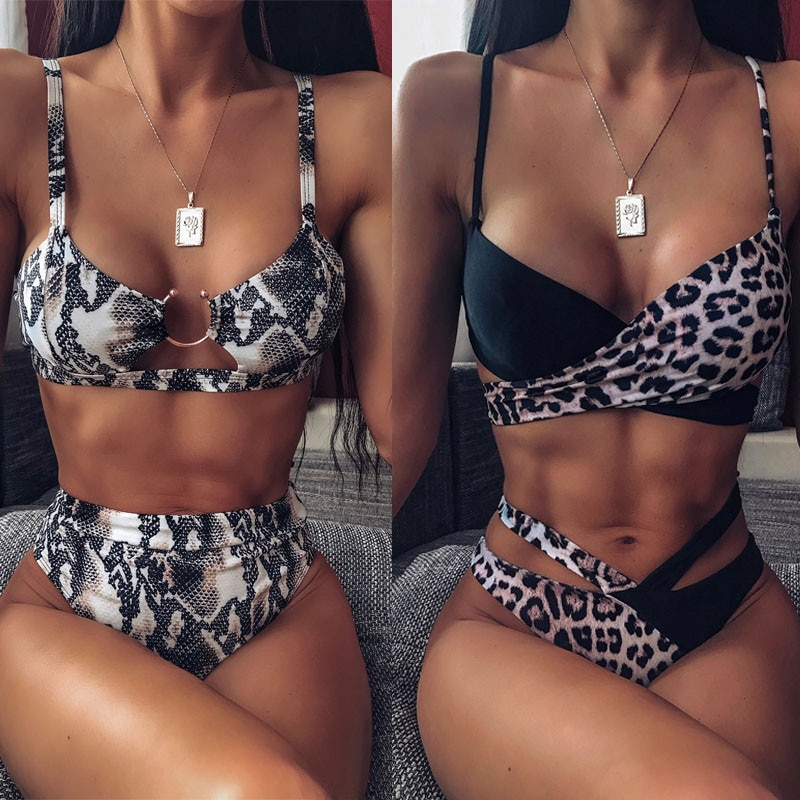 sexy micro bikini 2021 women swimsuit solid color hollow bikini set swimwear female halter top bathing suit bather biquini 2020 Sexy Women High Waist Bikini Swimsuit Swimwear Female Bandeau Thong Brazilian Biquini Bikini Set Bathing Suit Bather