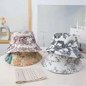 Unisex Summer Couple Hat Fashion Casual  Hat Men Women Sunscreen Cap Printing Panama Bucket Hat Sun Flat Top Fisherman Hats