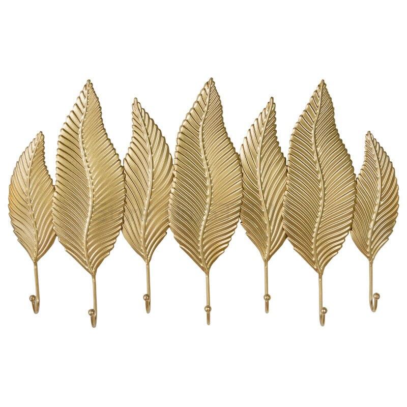 الحديثة الزخرفية 7 السنانير الباب مفتاح جدار هوك الشمال شماعة معطف الإبداعية الذهبي ورقة الملابس قبعة هوك مفتاح حامل الجدار الشنق