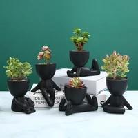 creative black figure flower pot plant cactus potted abstract ceramic figure flower pot figurine coffee table living room decor