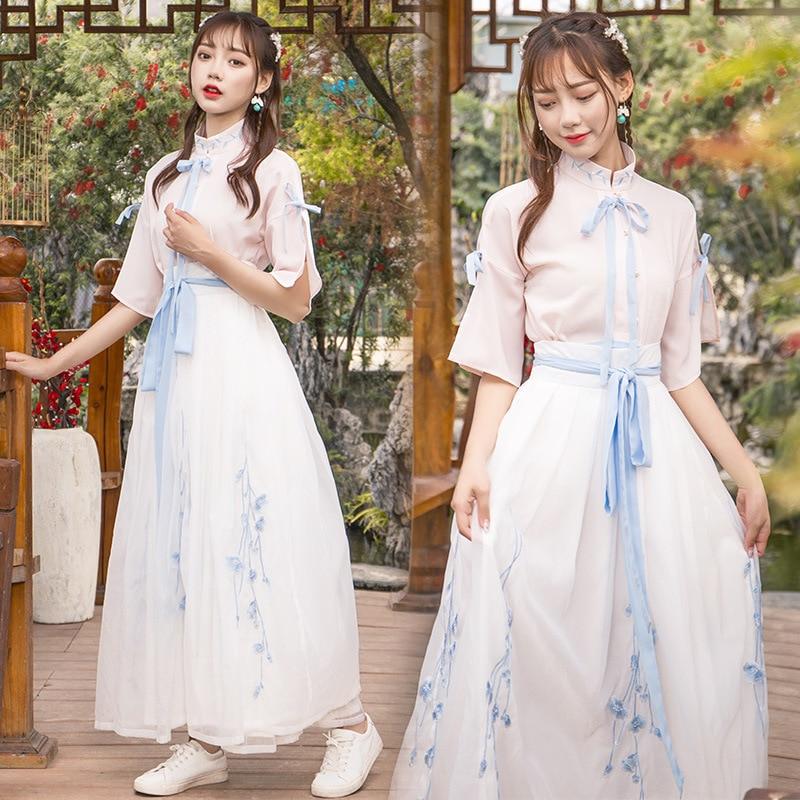 فستان رقص Hanfu Fairy للسيدات ، زي مهرجان شعبي ، أزرق ، وردي ، ملابس أداء ، ملابس مسرح DF1346