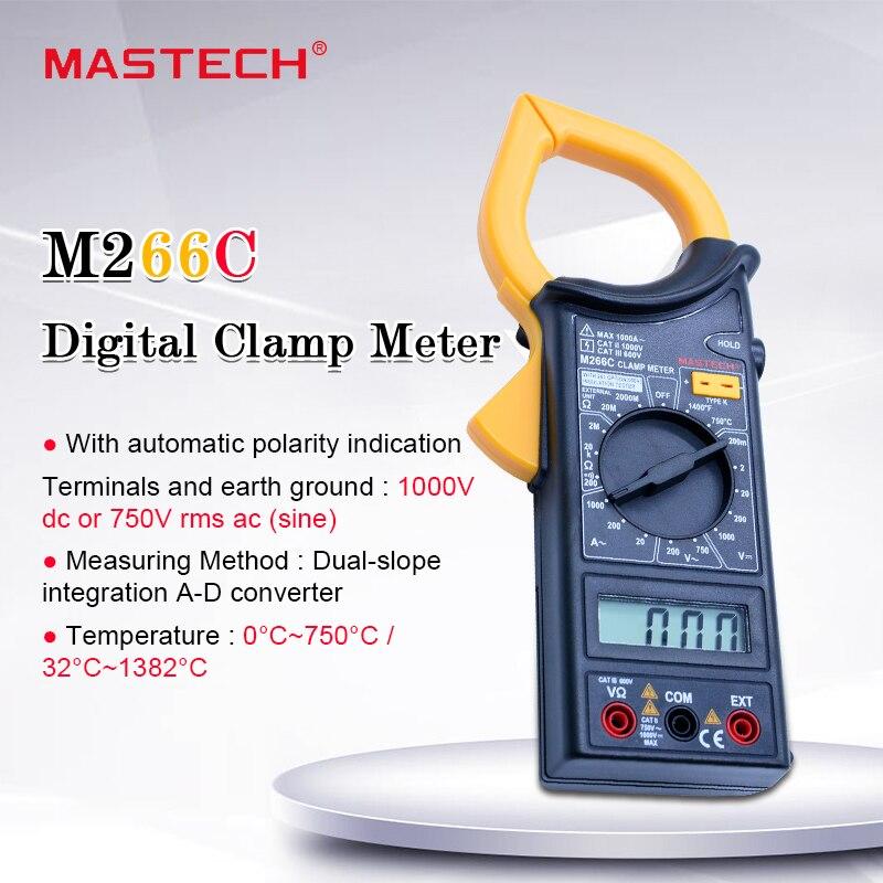 MASTECH M266C pince numérique voltmètre ohmmètre ACVoltage courant alternatif résistance testeur de température détecteur avec multimètre à Diode