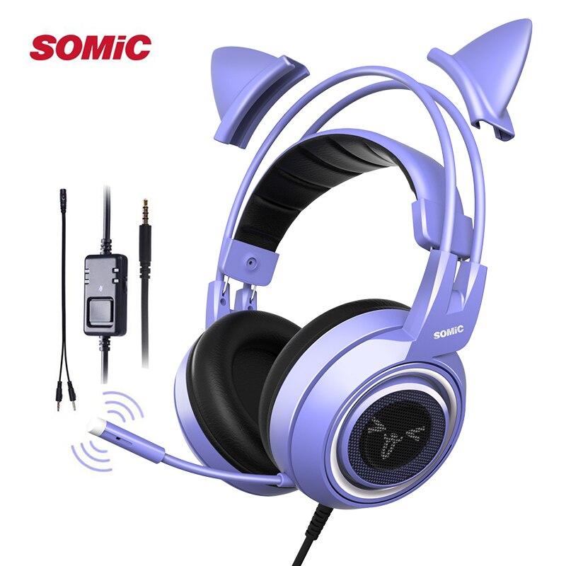 SOMIC الألعاب سماعة رأس مزودة بميكروفون G951S الأرجواني ستيريو ل PS4 هاتف الكمبيوتر انفصال القط الأذن سماعة 3.5 مللي متر الحد من الضوضاء النساء هدية