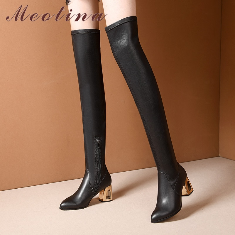 Meotina, botas altas de invierno para mujer, piel auténtica Natural, botas gruesas de tacón alto por encima de la rodilla, zapatos de cremallera elásticos delgados para mujer