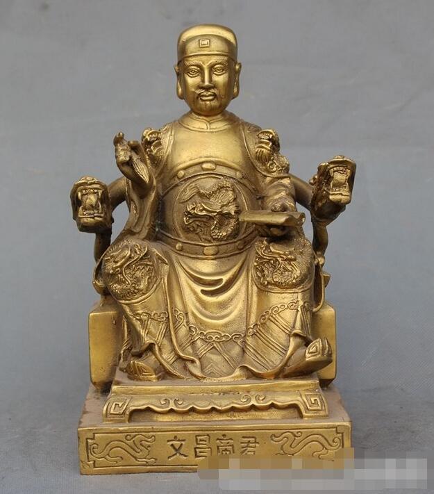 China Popular latón famoso Daoísta el Taoísmo emperador Wenchang estatua de Dios Buda