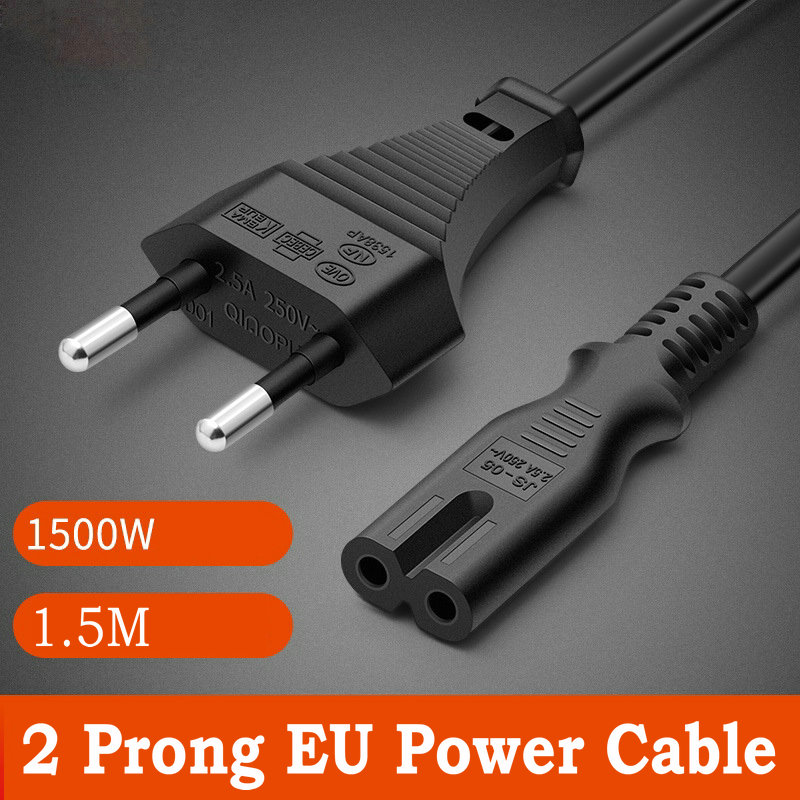 2 Prong de la UE Cable de alimentación de 1,5 M Cable...
