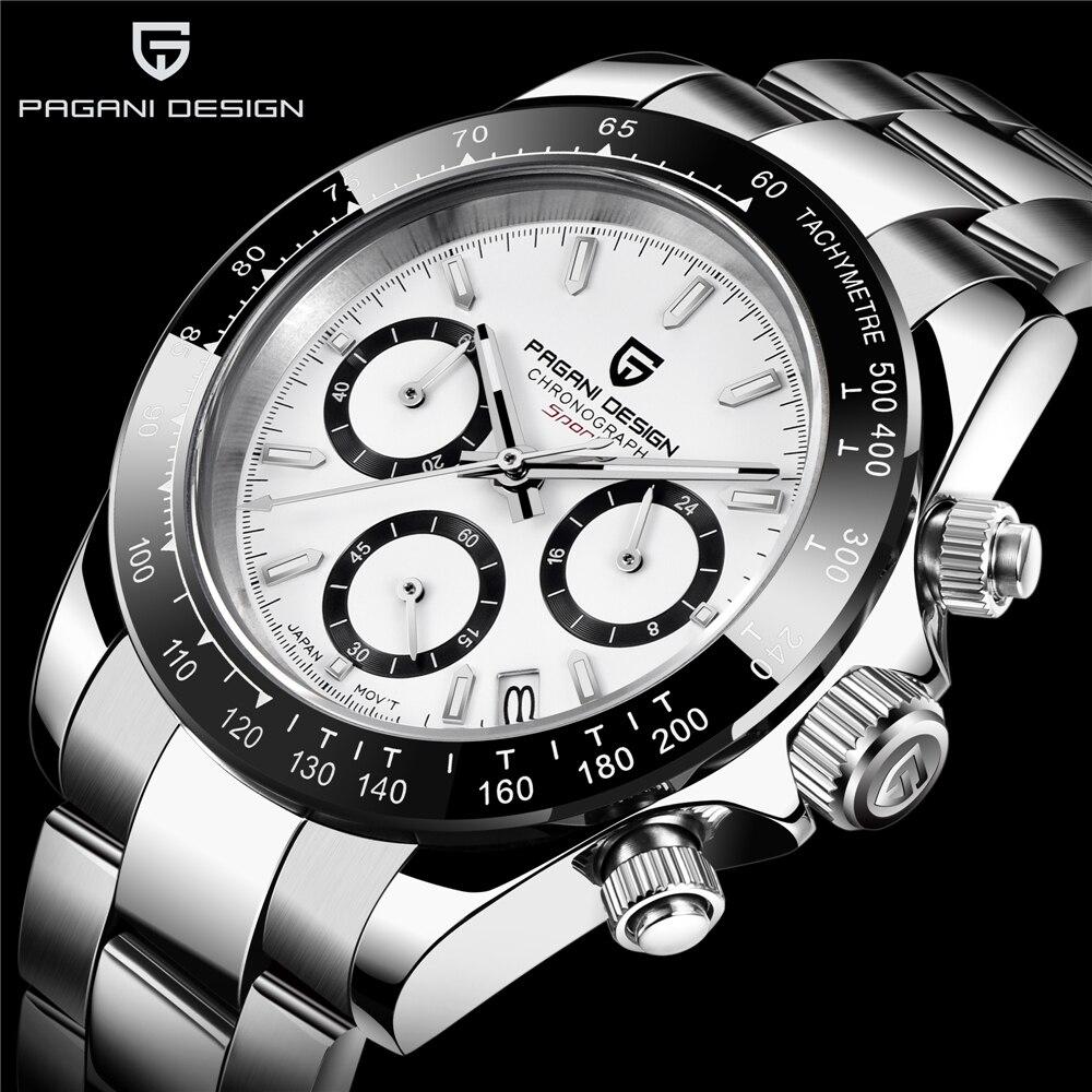 PAGANI DESIGNFashion Men Quartz Watch Luxury Sports Watch Men Stainless Steel 100M Waterproof Chronograph relogio masculino