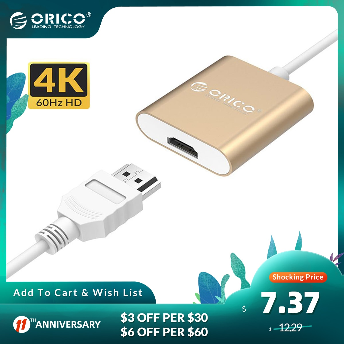 ORICO Aluminum Type C to HDMI-Compatible Adapter USB 3.1 USB-C HUB Adapter Converter 4K 60Hz for MacBook pro HUAWEI