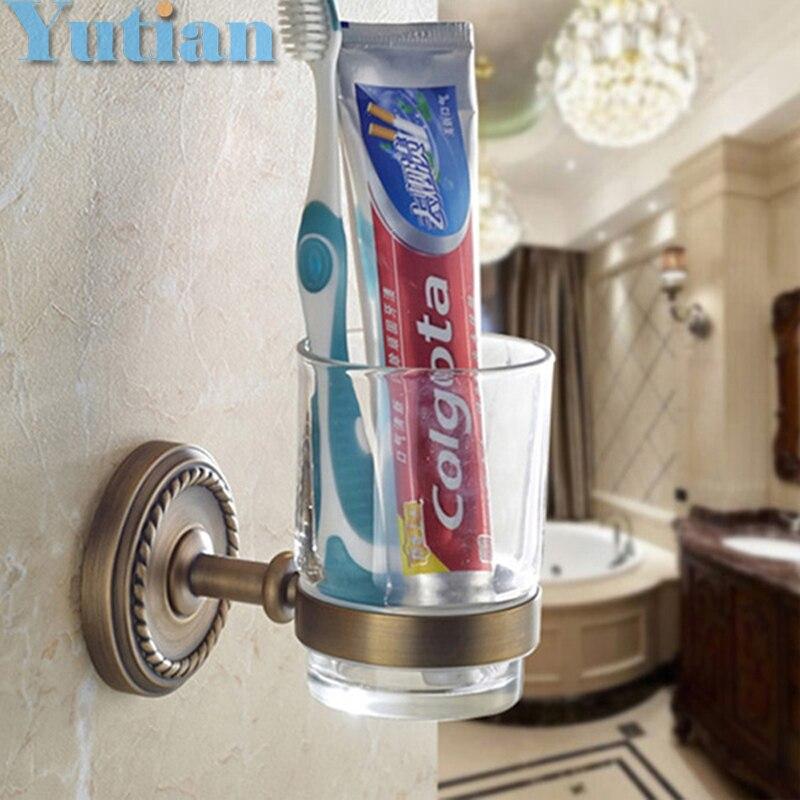 شحن مجاني حامل فرشاة الأسنان الموضة ، النحاس النقي والزجاج ، ، كوب مزدوج ، حامل الكأس الحمام مجموعة الحمام-YT-12297 بالجملة
