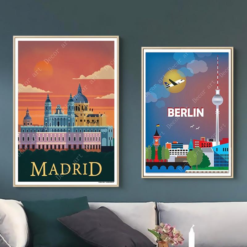 Toile de toile de voyage de Madrid   Autocollants muraux Vintage en Kraft, autocollants muraux enduits pour décoration de maison, espagne Berlin allemagne