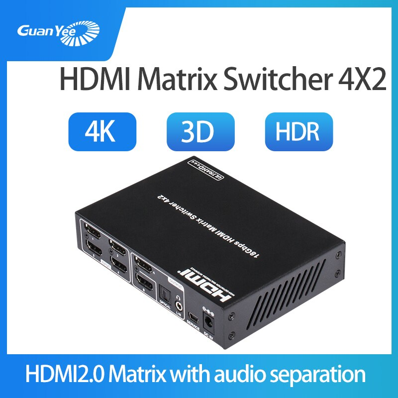 Conmutador Hdmi2.0 cuatro en dos separación de audio de fibra óptica 4K video HDR hd splitter matrix 4x2