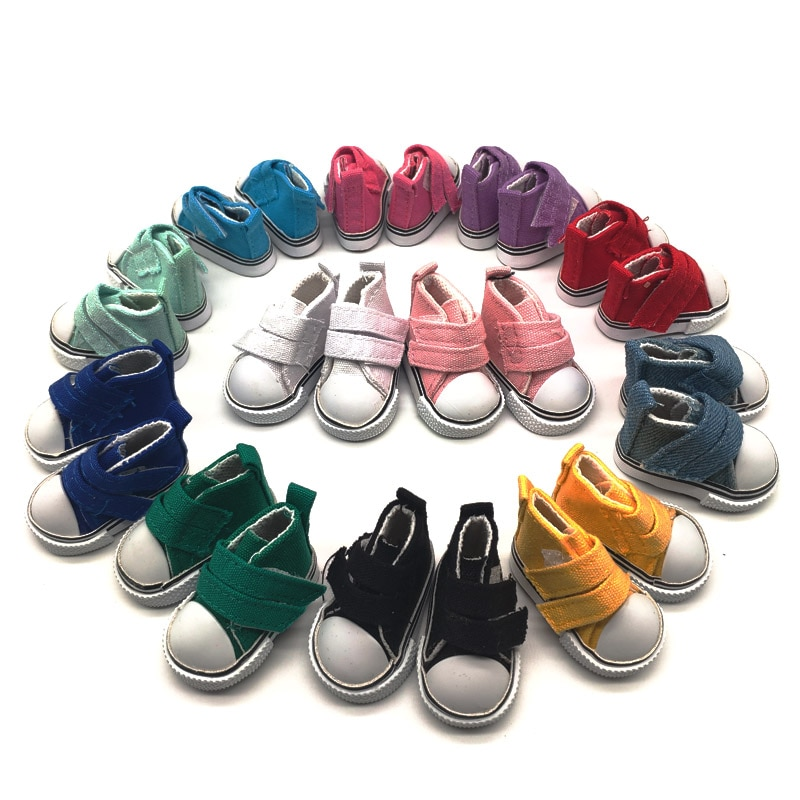 20Pairs/lot BJD Sneakers Doll Shoes Canvas Mini For Handmade Dolls 5cm Velcro Lace