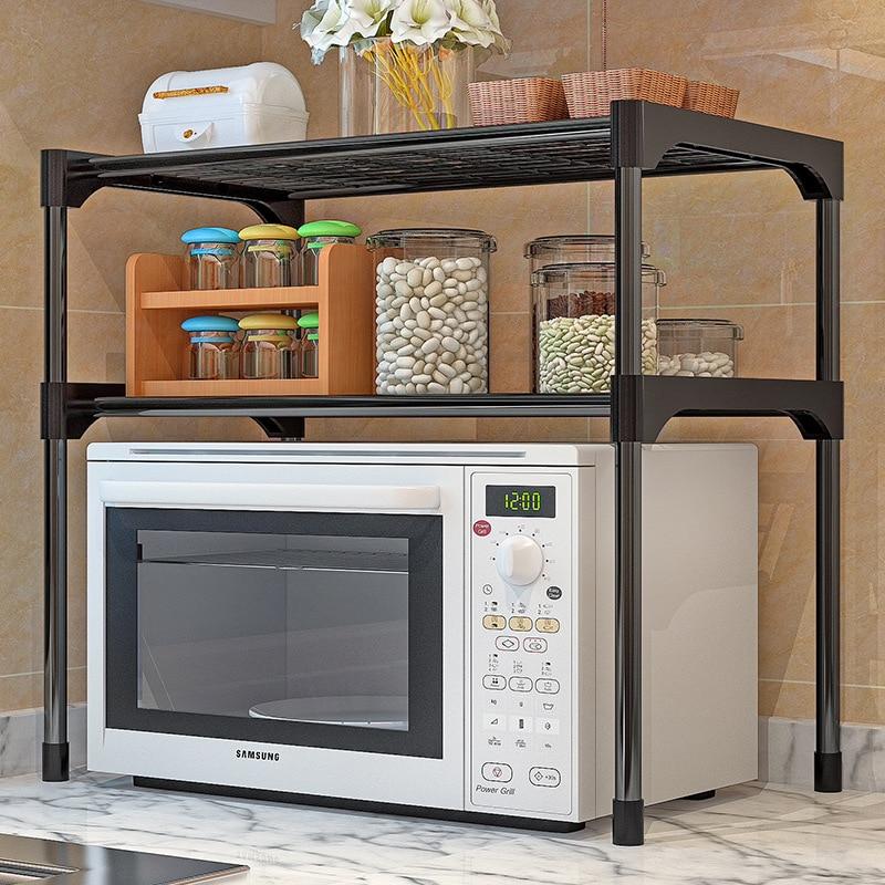 Двухуровневая подставка для микроволновой печи, стойка для специй, для ванной комнаты, кухонный Органайзер из нержавеющей стали