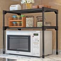 Etagere a epices pour four a micro-ondes  support a 2 niveaux pour fournitures de salle de bain  organisateur de cuisine assemble en acier inoxydable