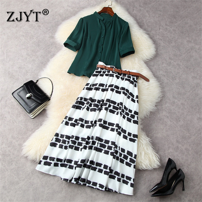 Summer Fashion Designers Runway Women's Set Elegant Office Lady 2 Piece Outfits Party Green Shirt and Print Midi Skirt Suit