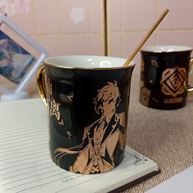 أنيمي Genshin تأثير Liyue ميناء Zhongli كوب من السيراميك الرجال النساء كوب طالب الكرتون الماء الساخن ختم فنجان القهوة هدية اليومية