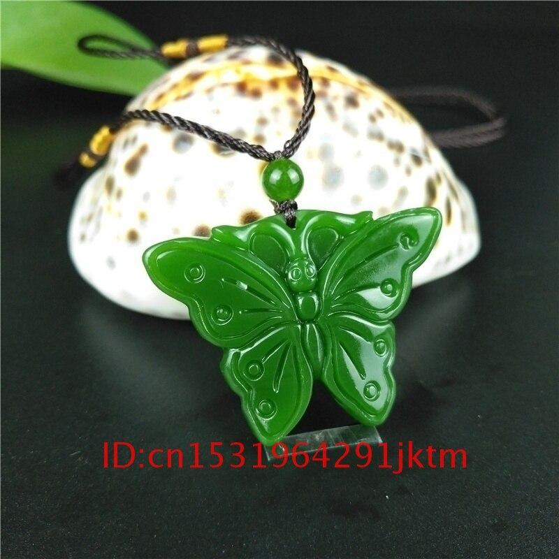 Нефритовый резной зеленый кулон из нефрита очаровательный натуральный амулет китайская женская бабочка мужское ожерелье руки подарки модные украшения