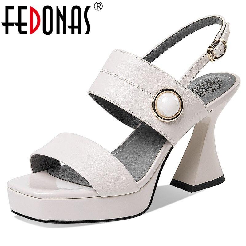 FEDONAS أعلى جودة النساء الصنادل 2021 موضة حقيقية أحذية من الجلد امرأة الصيف مثير منصة النادي الليلي مضخات الإناث