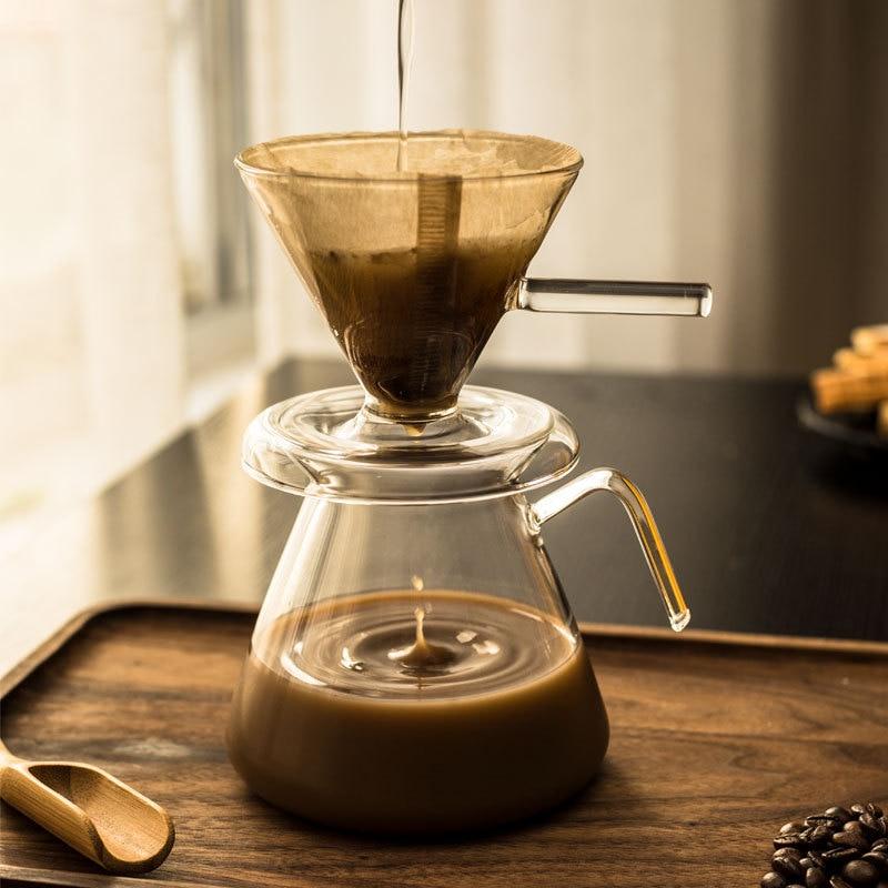 المحمولة بالتنقيط صانع القهوة الزجاج وعاء ماكينة إسبريسو غلاية percolator إبريق الحليب براد شاي قابلة لإعادة الاستخدام صب أكثر من مرشحات القهوة
