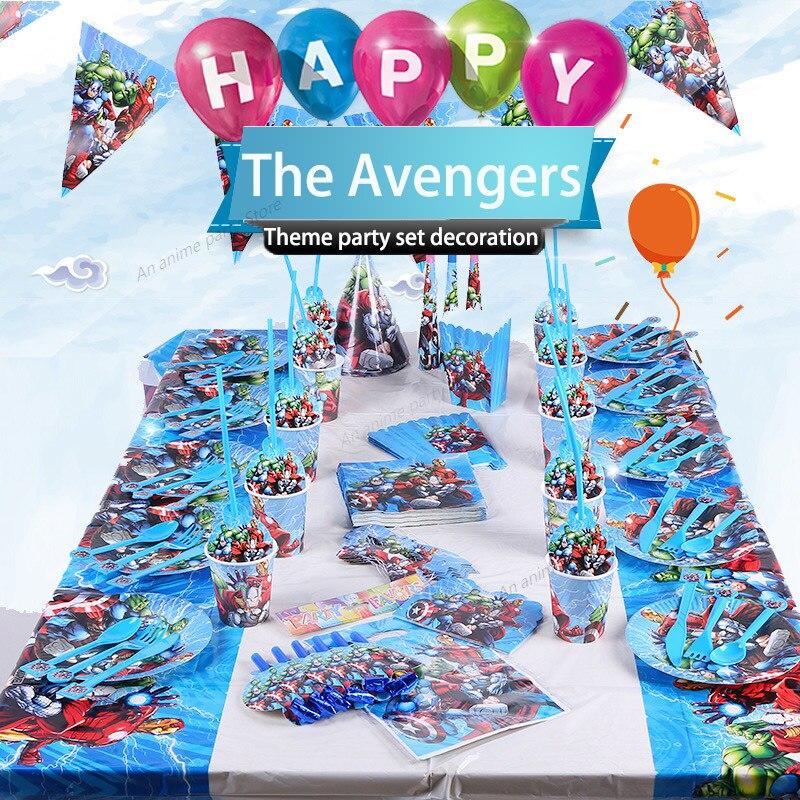 disney-marvel-partito-da-tavola-avengers-per-bambini-decorazioni-della-festa-di-compleanno-per-bambini-piatto-di-carta-tazza-di-carta-rifornimenti-tovaglie