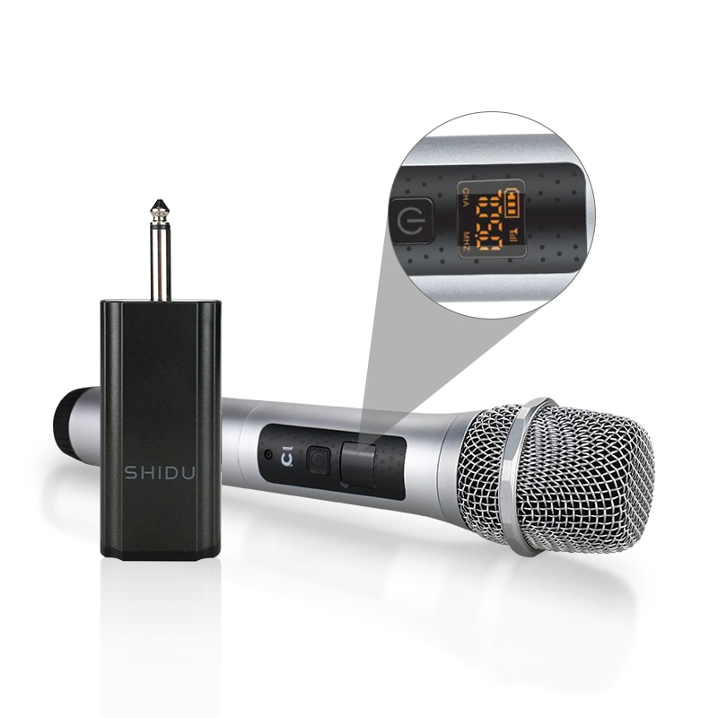 SHIDU U10 Wireless Handheld Dynamic Microphone Omnidirectional Portable Sound Amplifier For Speakers With 6.5mm Plug Receiver