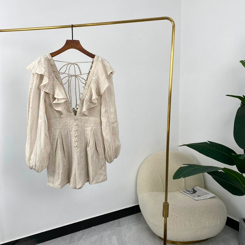 High Quality Linen Summer Women Fashion Solid Ruffles V-neck Backless Hook Flower Patchwork Long Sleeve Mini Playsuit