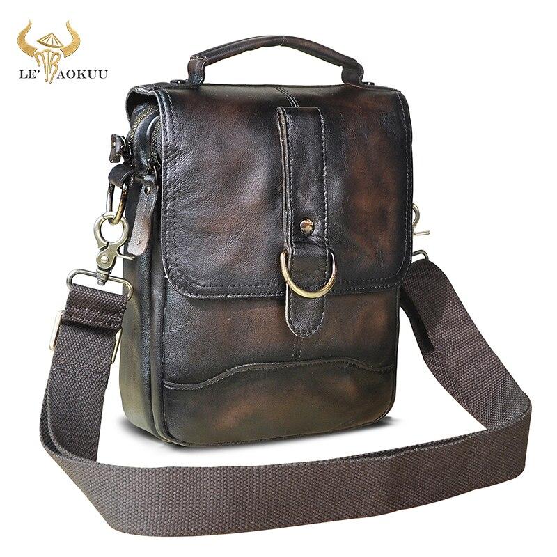 Natural Leather Male Vintage Coffee Design School Shoulder Messenger Crossbody bag College Tote Moch