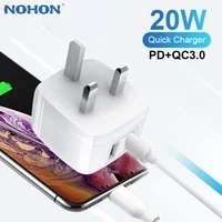nohon pd 20w fast charger usb type c phone charger for iphone 11 12 xiaomi huawei samsung qc3 0 quick charging travel charger