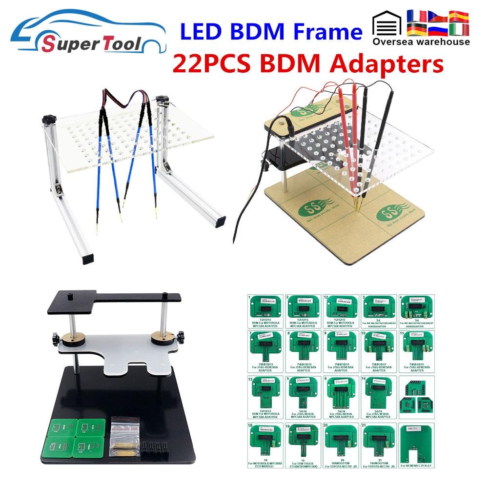 LED BDM الإطار ل KTAG KESS LED BDM الإطار مع 22 قطعة محول كامل مجموعات OBDII ECU Progammer LED BDM الإطار مع 4 قطعة التحقيق أقلام