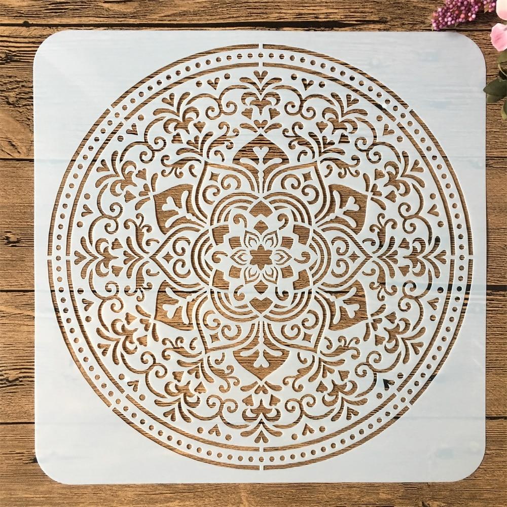 1Pcs Mandala Circle No. 9 DIY Layering Stencils Painting Scrapbook Coloring Embossing Album Decorative Template