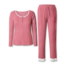 Neatie Kiddie Solid Women Pajamas Set Home Lounge SetS Soft Clothes Long Sleeve Top Full-length Pant