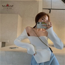 Women sweater tight-fitting base off-shoulder sexy slim black sweater collar full sleeves elastic  w