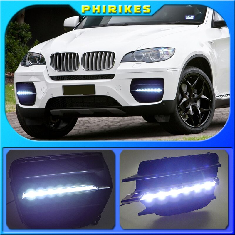 1set LED النهار تشغيل أضواء ل اكسسوارات السيارات BMW X6 E71 2009 2010 2011 2012 2013 سنة X 6 الجبهة الضباب مصباح drl الوفير ضوء