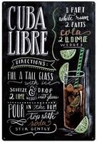 original vintage design cuba libre cocktail recipe tin metal signs wall art thick tinplate wall decoration barkitchen