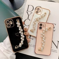 for iphone 12 pro case cute plating love heart pearl chain wrist phone case for iphone 11 pro max xs max x xr 8 7plus soft cover