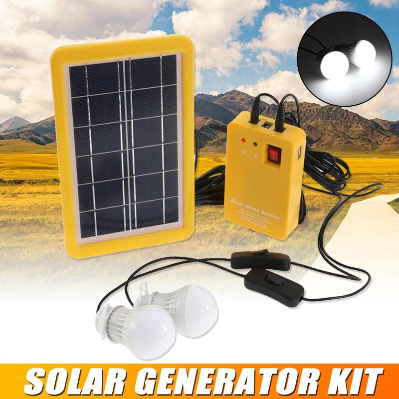 3 واط لوحة طاقة شمسية الطوارئ ضوء عدة مولد للطاقة الشمسية 4 رؤساء شاحن يو اس بي كابل مع 2 مصباح ليد لمبة للتخييم في الهواء الطلق