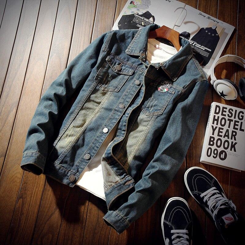Fashion Solid Denim Jacket Mens Spring Casual Slim Fit Bomber Jackets Men Jean Jacket Mens Outwear Male Cowboy New Arrival