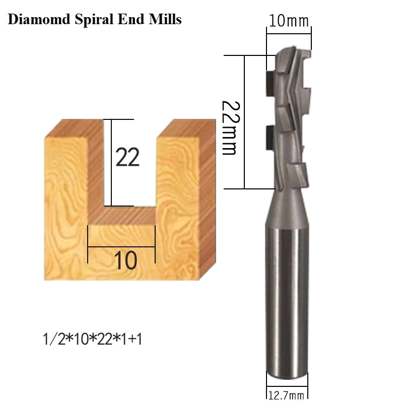 Livter Diamond PCD woodworking cnc milling cutter two flute spiral Shank Cleaning Bottom Endmill tools Slotter router