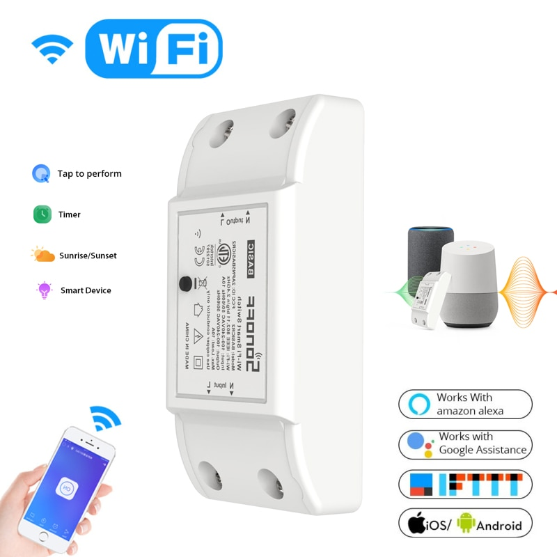 Sonoff Basic R2 Wifi Smart Switch DIY Wireless Remote Smart Home Automation Relay Module Controller Work with Nest Alexa Google
