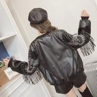 2021 spring autumn tassel rivet biker short soft pu leather jacket women print long sleeve streetwear zippers female coats