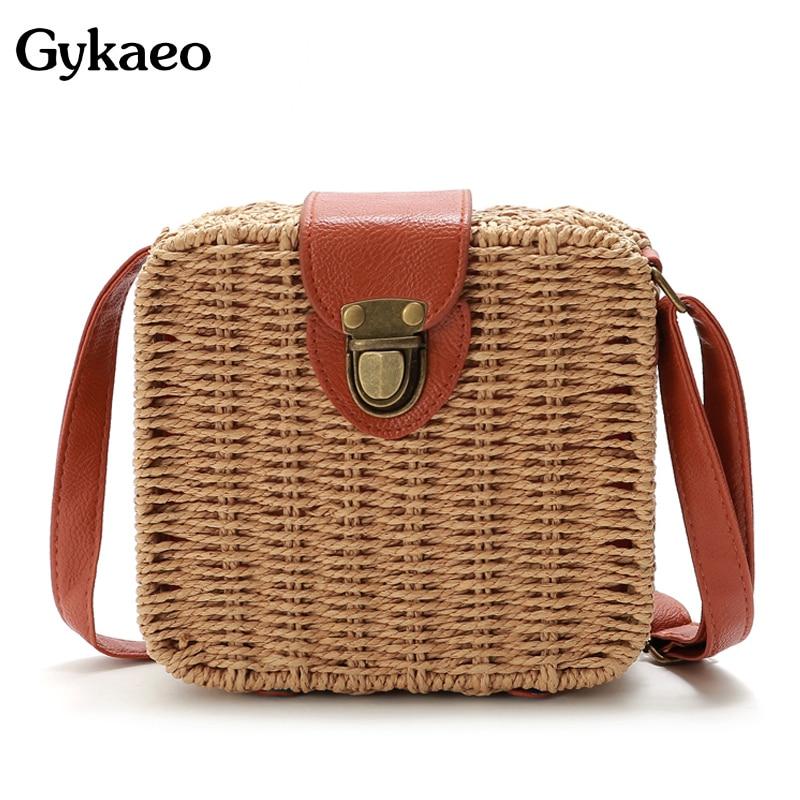 Gykaeo حقيبة يد فاخرة المرأة حقائب مصمم حقيبة كتف القش الصغيرة السيدات اليدوية المنسوجة الشاطئ حقيبة ساع ل حقيبة الأم