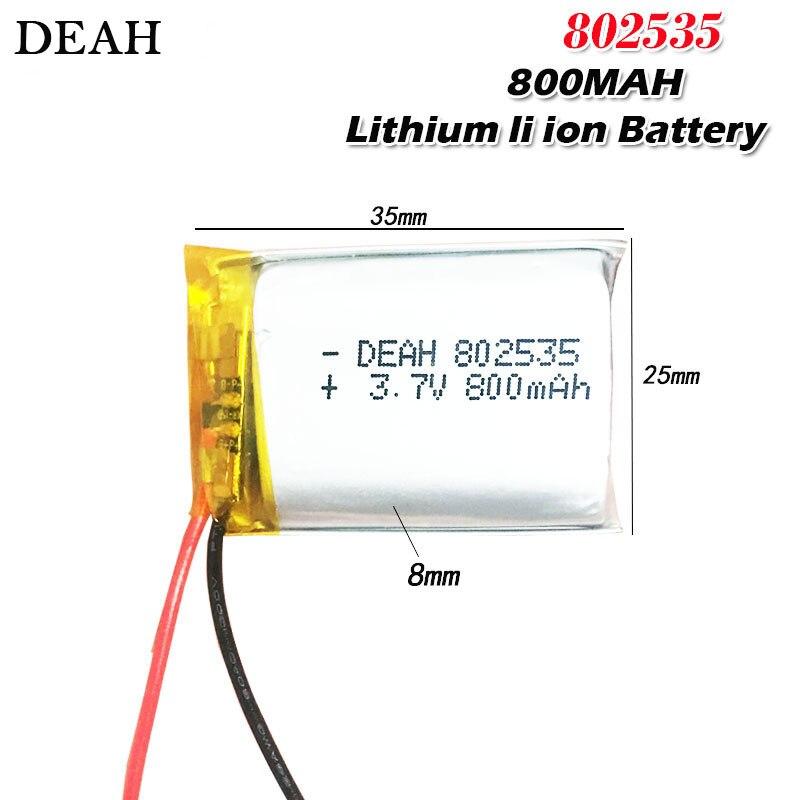 Batería recargable li-po de polímero de litio 3,7 V 800mAh 802535 para Altavoz bluetooth, MP5, GPS, DVD, PDA, luz LED, celda de ion de litio