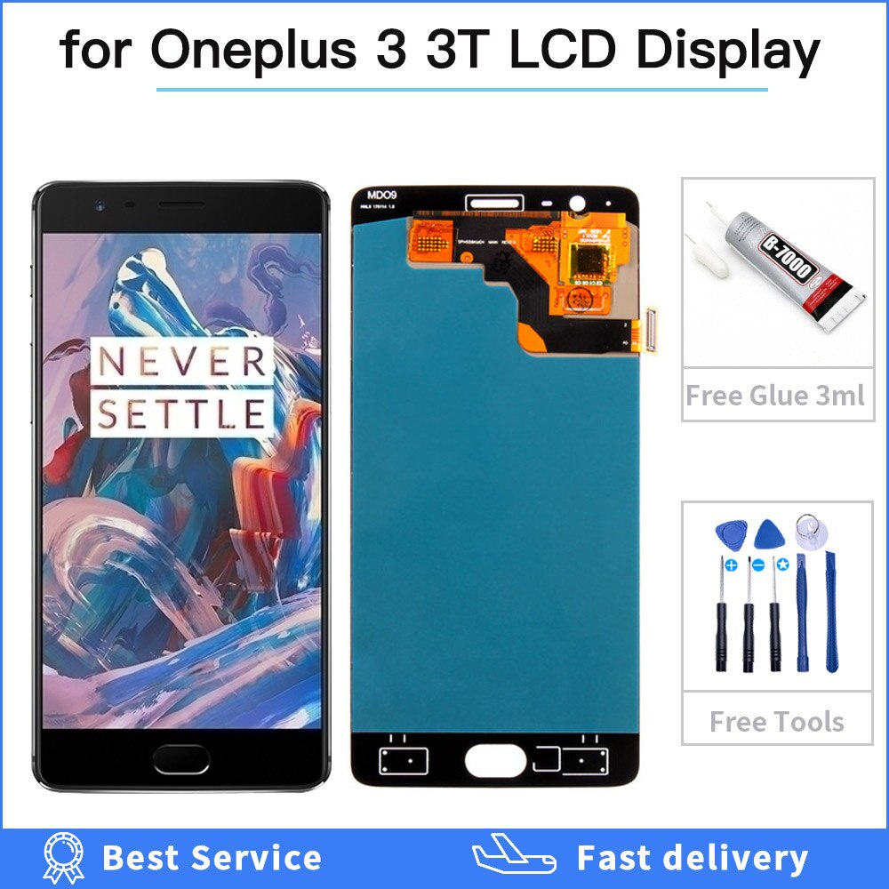 Pantalla 100% probada para Oneplus 3 3 T pantalla táctil LCD para OnePlus 3 T A3000 A3010 A3003