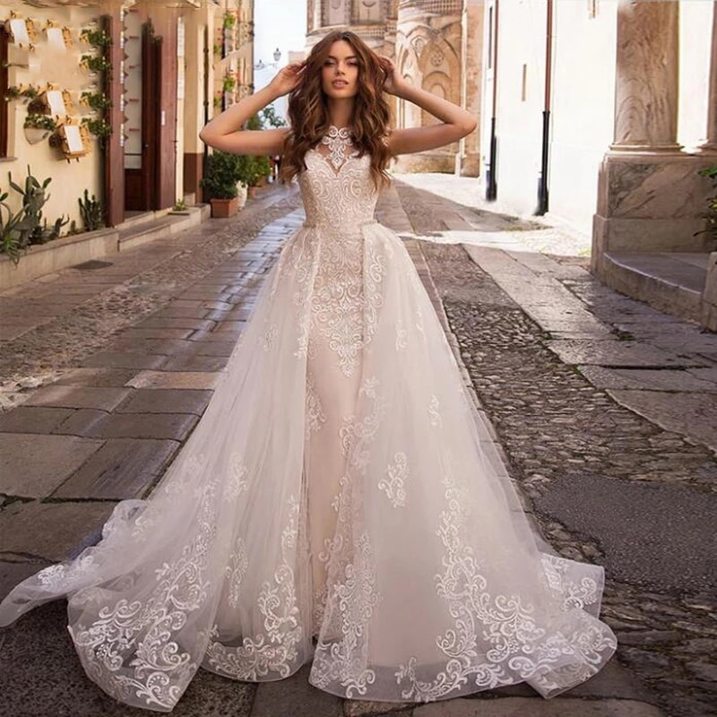Get Luxury Mermaid Wedding Dresses Sleeveless Detachable Train 2 In 1 Lace Beaded Applique Plus Size Bride Wedding Gowns