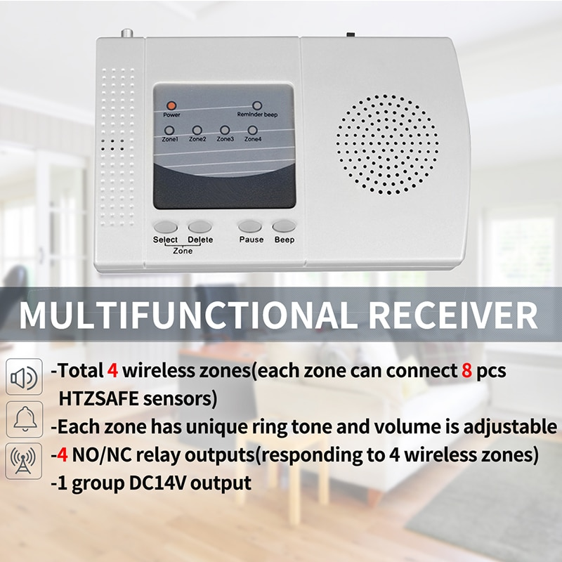 HTZSAFE Solar Beam Sensor Driveway Alarm System-800 Meters Wireless Range-100 Meters Sensor Range-DIY Home Security Alerts enlarge