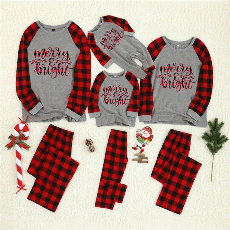 Natal família combinando pijamas pjs conjunto natal santa pijamas pijamas presente agasalho do bebê criança adulto preto vermelho xadrez carta