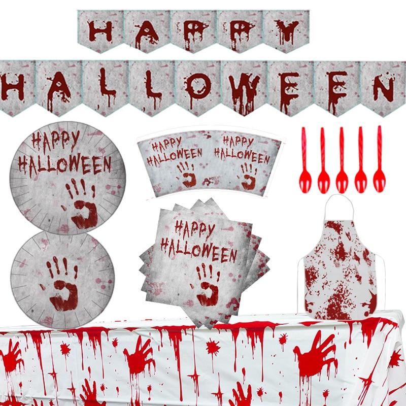 Хэллоуин Кровавый отпечаток руки тема вечерние столовые скатерти Бумага Салфетка под тарелку кружку баннер Капель крови жуткий вечерние у...