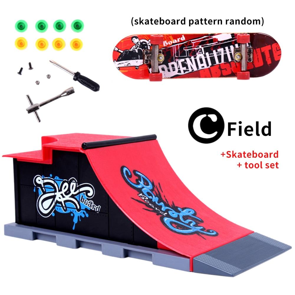 Jogar local pista dedo skate conjunto abs com rampa cena combinação mini jogos de treinamento presente deck parque removível crianças brinquedo