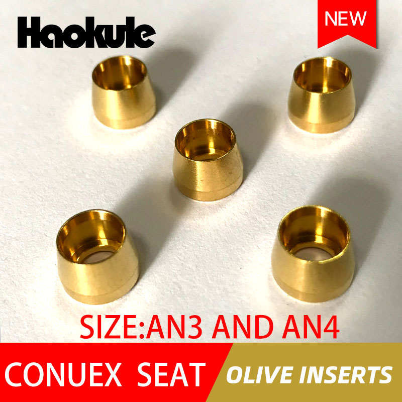 Haokule conuex assento azeitona inserções an3/3an an4/4an extremidade de mangueira m10 * 1.0 teflon ptfe fim montagem de mangueira acessórios de sistema de freio